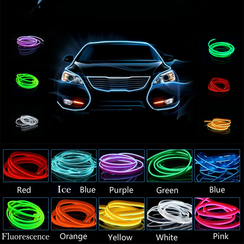 auto atmosphere light 2m 12v car cold light wire neon lamp decor accessories for renault megane. Black Bedroom Furniture Sets. Home Design Ideas