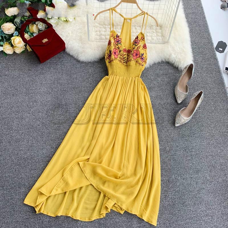 CUERLY Bohemia Holiday Embroidery Flowers Sexy V-collar Beach Dress High Back Slim Waist Ladies Boho Summer