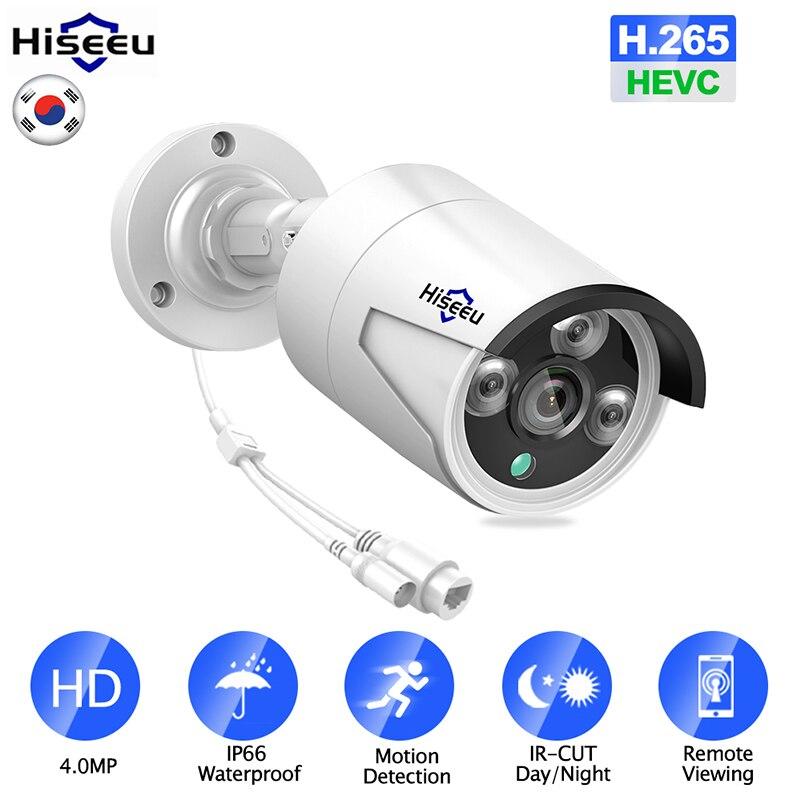 Hiseeu H.265 аудио ip камера безопасности POE 4MP ONVIF наружная водонепроницаемая IP66 CCTV камера P2P видеонаблюдение дома для POE NVR