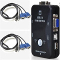 CAA-Hot New 2-Port USB 2.0 KVM Switcher + VGA Cable Cord Mouse/KYB/VID
