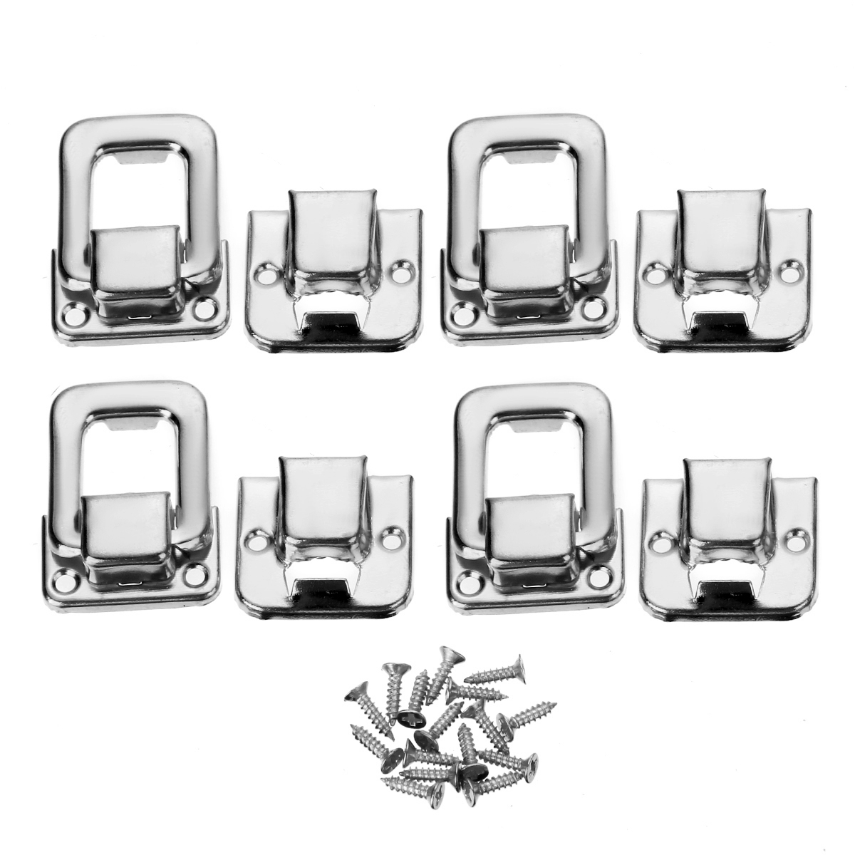 4pcs Silver Fastener Toggle Lock Latch Catch Practical Locks For Suitcase Case Boxes Chests Trunk Tools