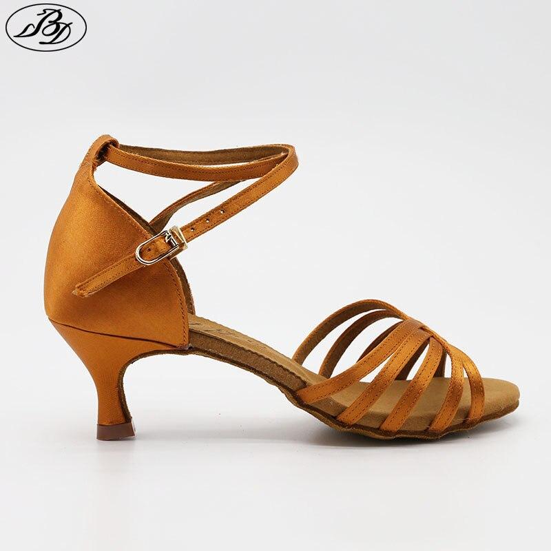 BD Dance Shoes 211 Dark Tan Satin Low Flared Heel Ladies Latin Dance Shoes Women Sandal Professional Dancing Shoe Samba Rumba