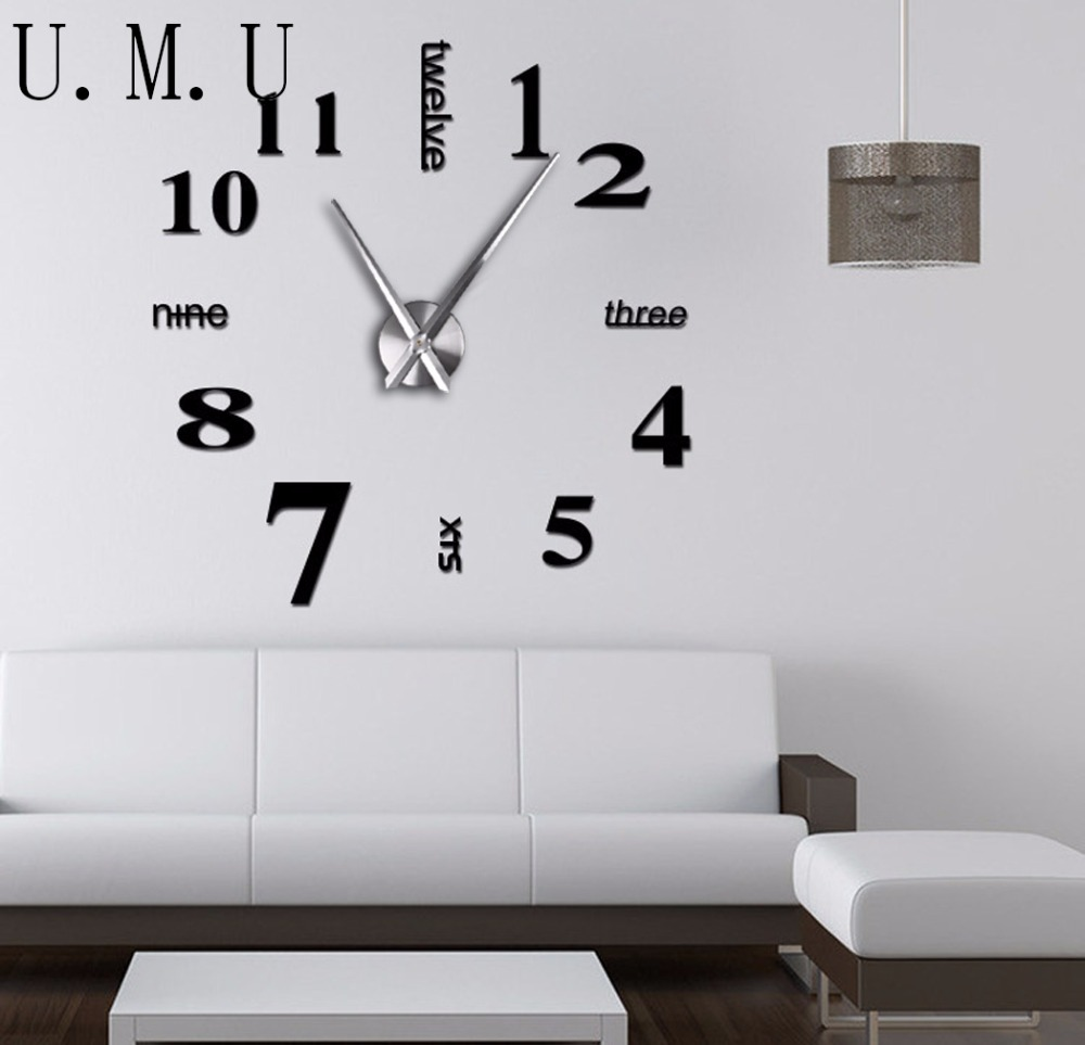 popular diy clock wallbuy cheap diy clock wall lots from china  - modern d wall clock diy digital large wall clocks big size mirror wallstick clock reloj