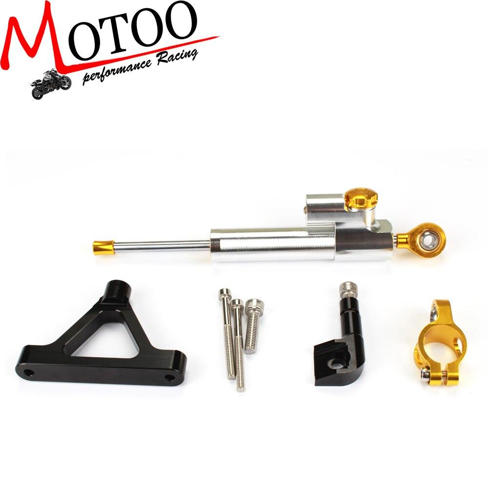 Motoo - CNC Steering Damper complete Set for KAWASAKI ZX6R (636) 2007 08  w/ bracket kits cnc steering damper complete set for kawasaki zx6r 636 2007 2008 w bracket kits