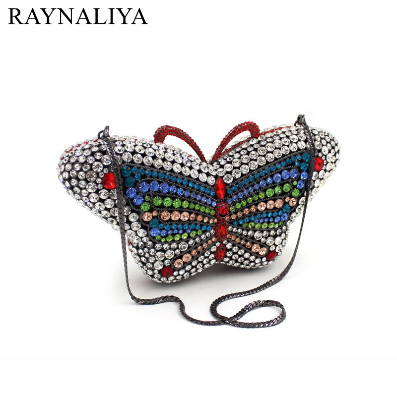 Butterfly Wedding Bridal Hollow Out Gliter Crystal Diamond Clutch Bags Women Hard Metal Rhinestones Evening Handbags SMYZH-F0326