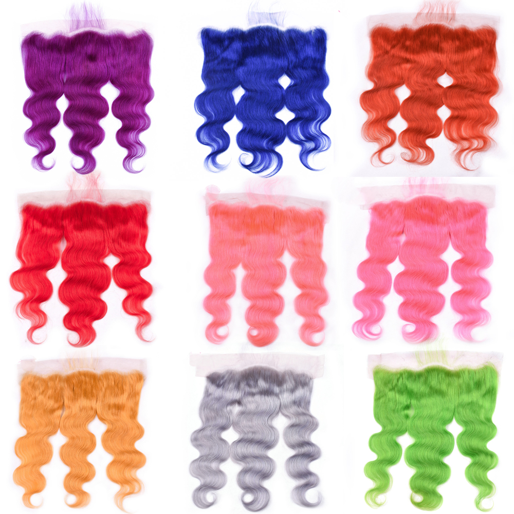 Ms Love Green Grey Orange Pink Purple Red Yellow Body Wave Lace Frontal 13 4 Lace