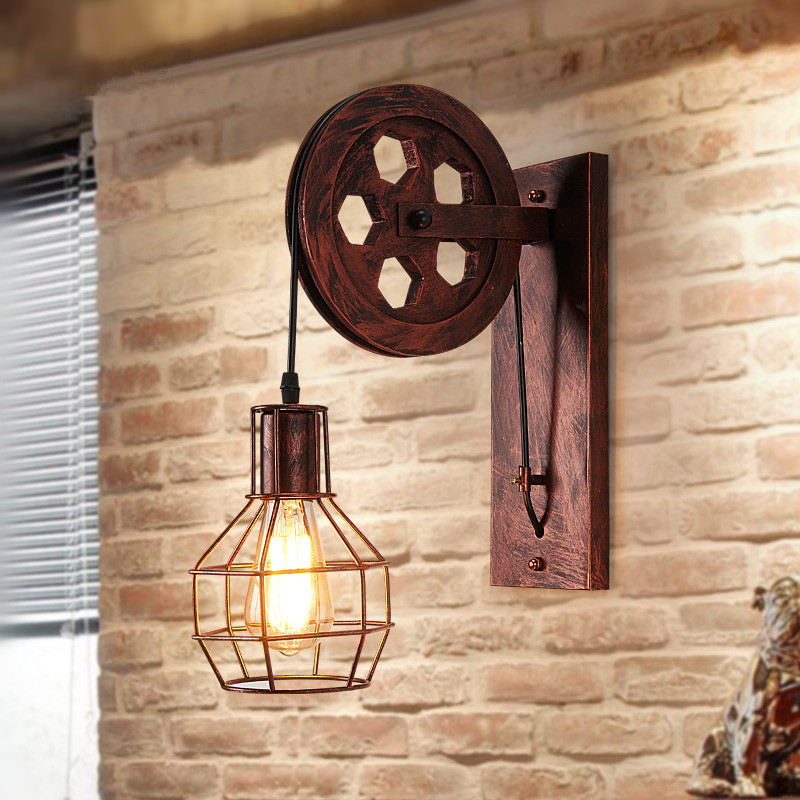 Loft Black Iron Wheel E27 Metal Wall Lamp American Country Bedside Light For Bar Cafe Home Lightings Applique Murale Luminaire loft american edison vintage industry crystal glass box wall lamp cafe bar coffee shop hall store club