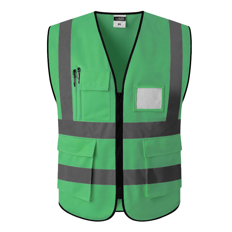 SPARDWEAR Hi Vis Clothing Workwear Green Safety Vest Reflective Gilet With Pockets Free Shipping