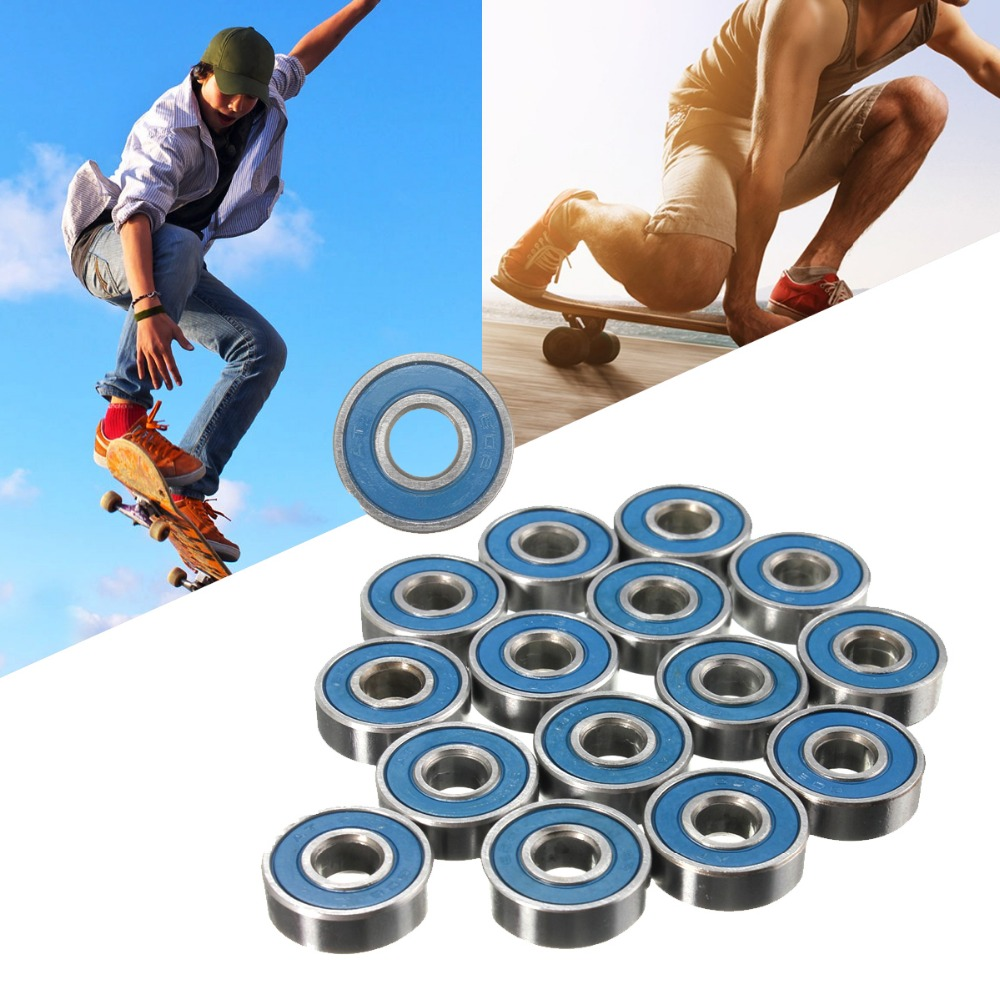 16 pcs Frictionless Abec 9 Skateboard Roller Skate Wheels Scooter Spare Bearings durable цена
