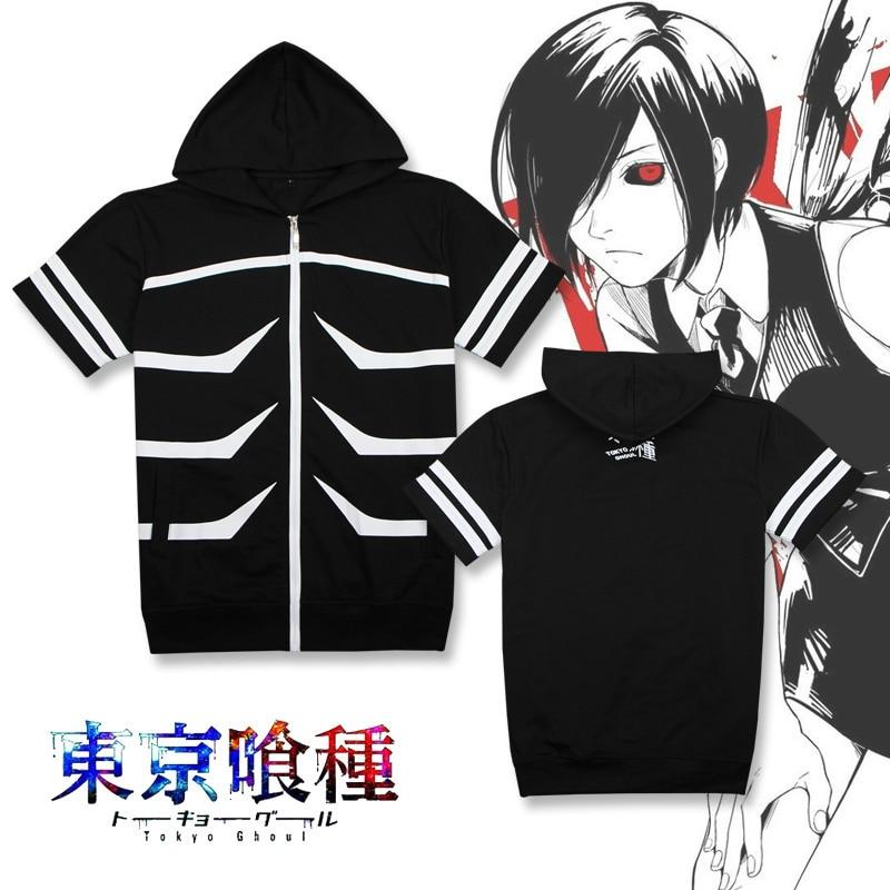 anime MEN WOMEN Tokyo Ghoul cosplay hoodie kaneziki jacket clothes sweater kaneki ken carnaval cosplay shirt short sleeve tee
