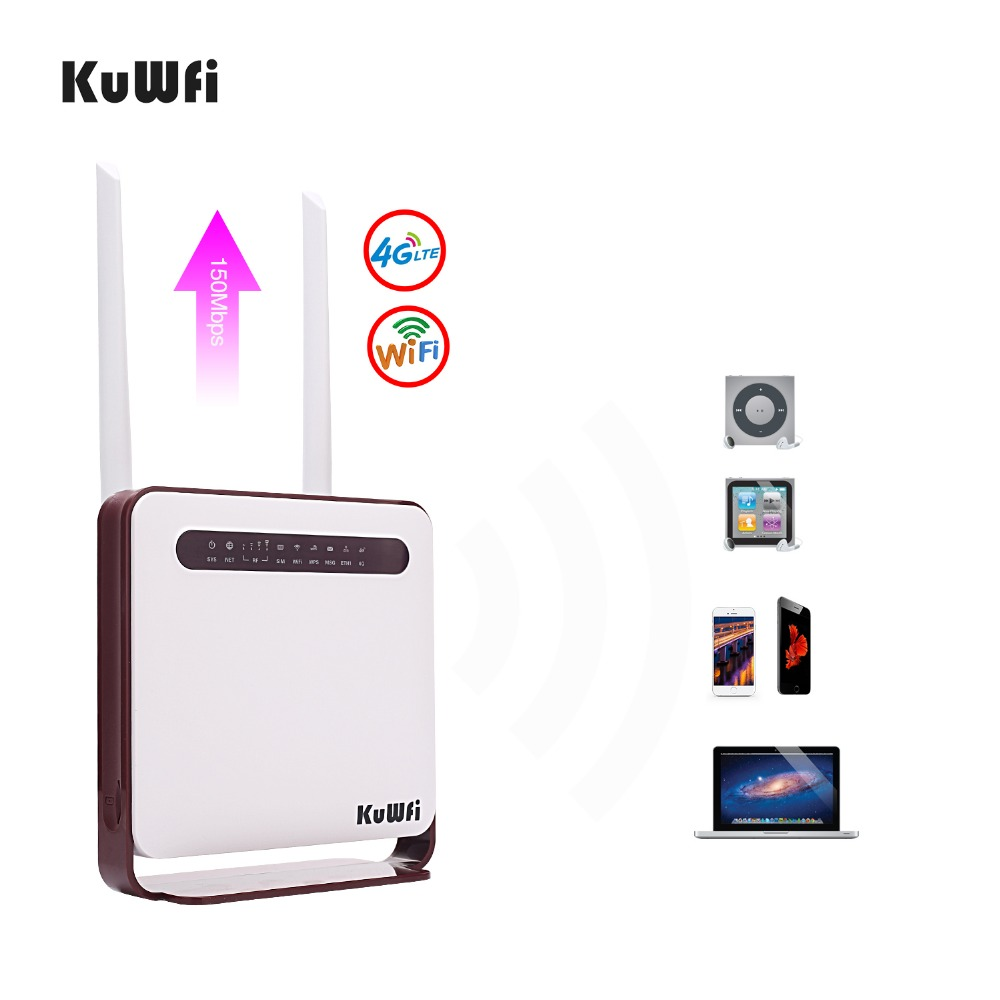 Image 3 - KuWfi 4G WiFi Router 300Mbps Wireless Wi Fi Mobile LTE 3G/4G Unlocked CPE Router with SIM Slot 4LAN Ports Support 32 Wifi Users-in Wireless Routers from Computer & Office