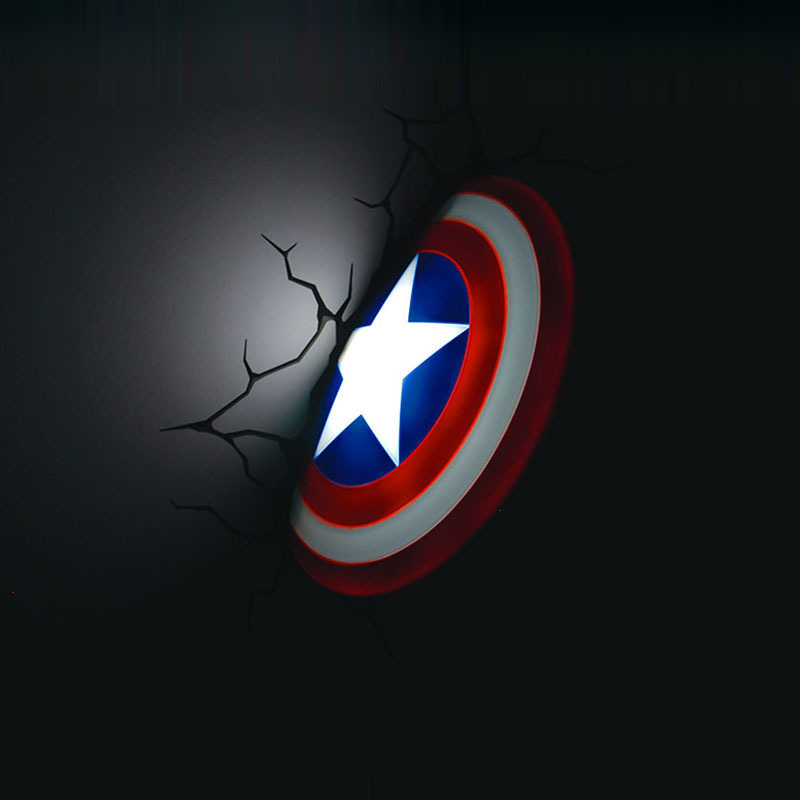 2016 Marvel Super héros, les Avengers, captain America bouclier lampes murales, maison & bar déco lumière, personnaliser jouet éclairage, lumière LED