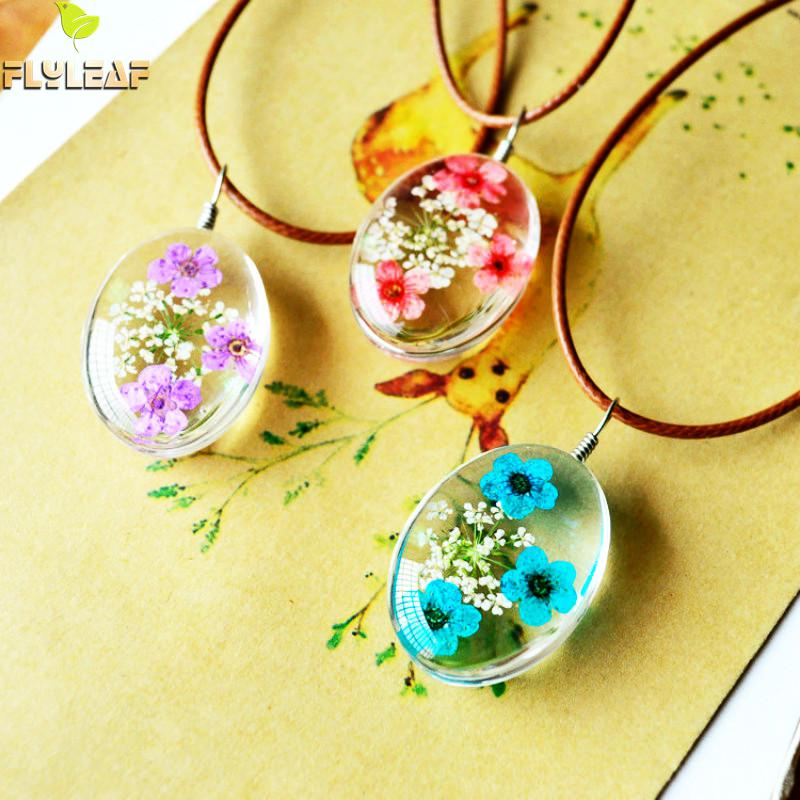 Flyleaf 2017 Handmade Epoxy Natural Dried Eternal Flower Specimens Necklaces & Pendants For Women Casual Girl Jewelry Lahore