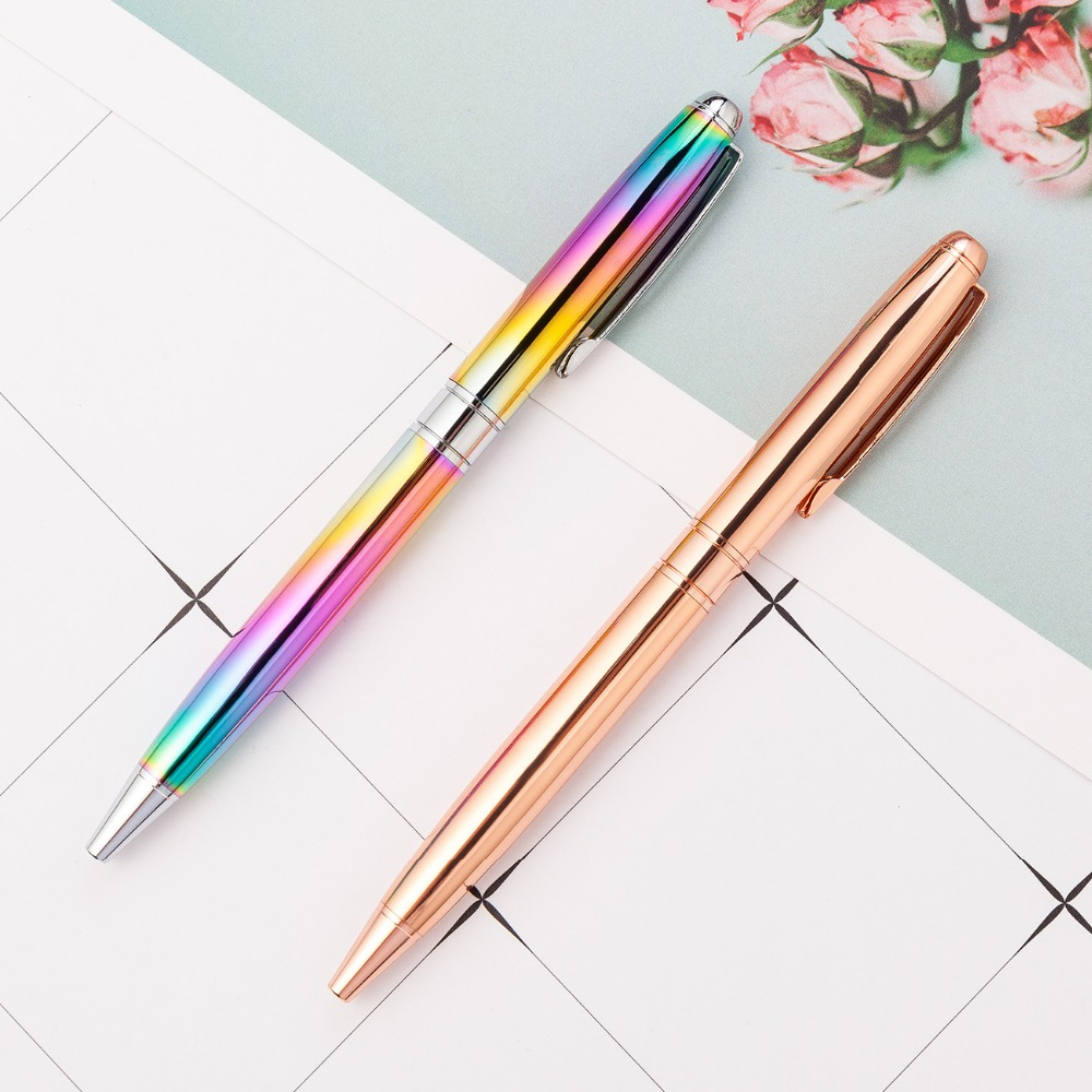 1pc School Rainbow Stationery Metal Ballpoint Pen Crystal Rotary Diamond