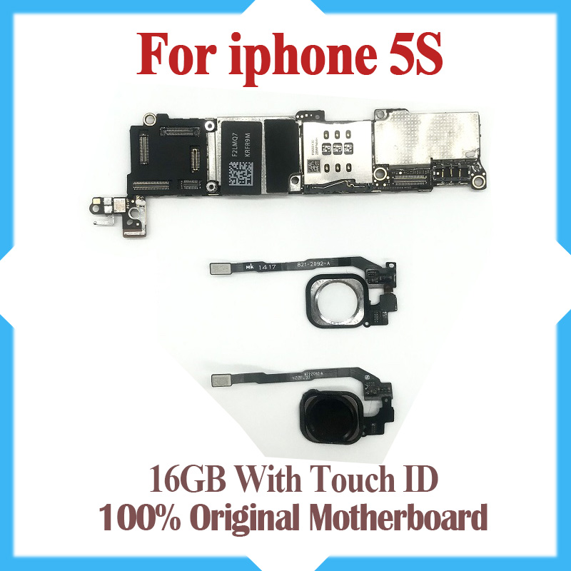 16GB for iPhone 5S Motherboard with Touch ID 100 Original unlocked for iphone 5S Logic boards