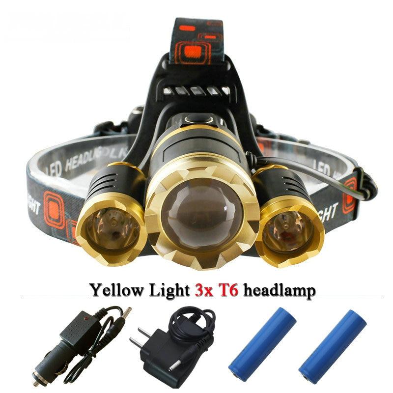 White <font><b>light</b></font> yellow <font><b>10000</b></font> lumens 3T6 CREE XML T6 headlamp 18650 LED headlight rechargeable night <font><b>light</b></font> flashlight head torch