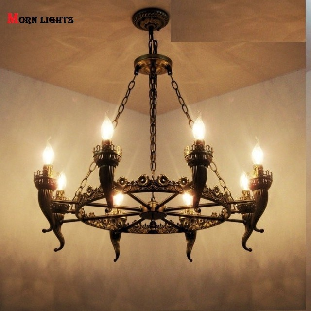 Антикварная люстра Утюг огни бронза античная свет для гостиной Обеденная бронзовая люстра