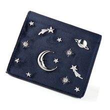 Women Wallet Female Coins Purse Card Holder Velvet Leather Hasp Short Small Wallet Space Star Pattern Women Clutch Bag Casual 2016 new pu leather hasp ladies wallet female small short purse for women for coins credit card holder dollar price carteira