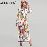 dd55a209a5c8 Luxury Loose Runway Dresses Women Full Sleeve Summer Fashion Print  Embroidery Patchwork 2018 Split Belt Newest. Luxo Vestidos de Pista Mulheres  Completo ...