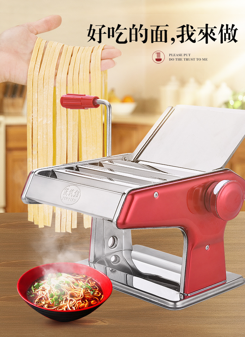Pasta Maker Manual Press Stainless Steel Roller Dumpling Leather Machine Wonton Leather Machine Three knife Press Machine Electric Noodle Makers     - title=