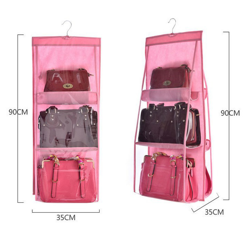 6 Pocket Hanging Handbag Organizer for Wardrobe Closet Transparent Storage Bag Door Wall Clear Sundry Shoe Bag with Hanger Pouch in Storage Bags from Home Garden