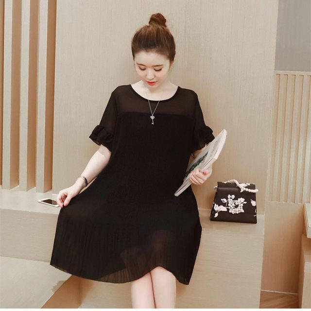 Online Shop Maternity chiffon Dress for pregnant women Black loose ...