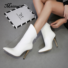 MAIERNISI Slip On Band Rubber Boots Winter Arrival Design Chelsea Boots Women Shoes Autumn Thin Heel Female Footwear big size kickway 2018 slip on stretch band rubber boots winter ankle chelsea boots women shoes autumn square heel female footwear 34 42