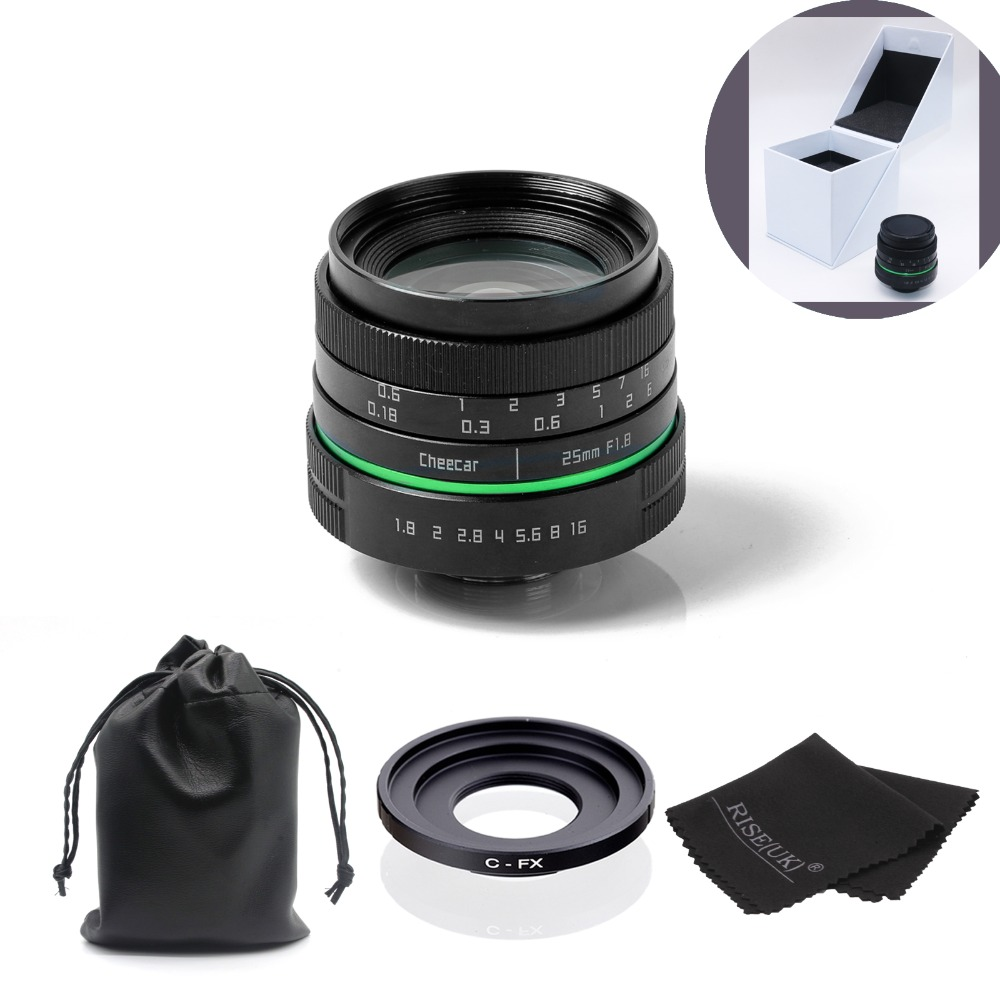 New green circle 25mm CCTV camera lens  For Fujifilm X-E1,X-Pro1 with c- fx adapter ring +bag+big box+gift free shipping new green circle 25mm cctv camera lens for for olympus with c m4 3 adapter ring bag gift big boxfree shipping