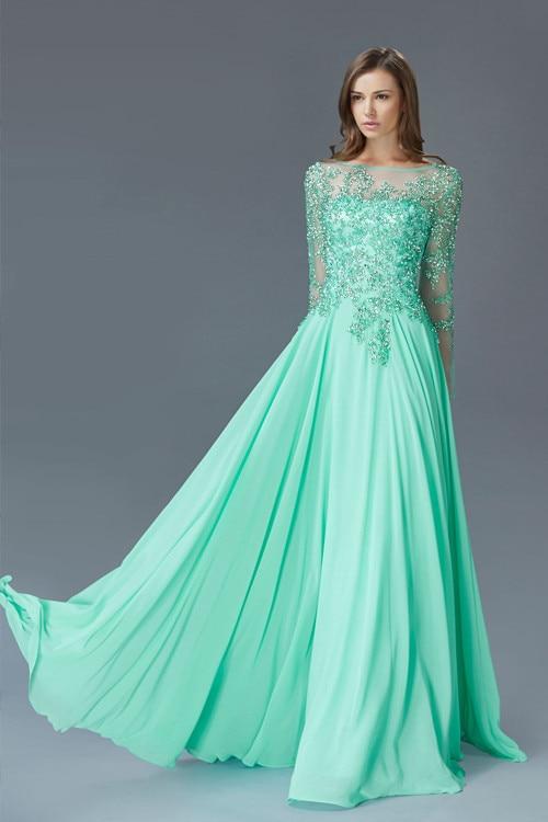 New 2017 Modest Jade Green Chiffon Evening Dresses Long
