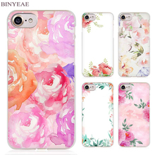 BINYEAE Watercolor Flowers Top Bottom Clear Cell Phone Case Cover for Apple iPhone 4 4s 5 5s SE 5c 6 6s 7 Plus