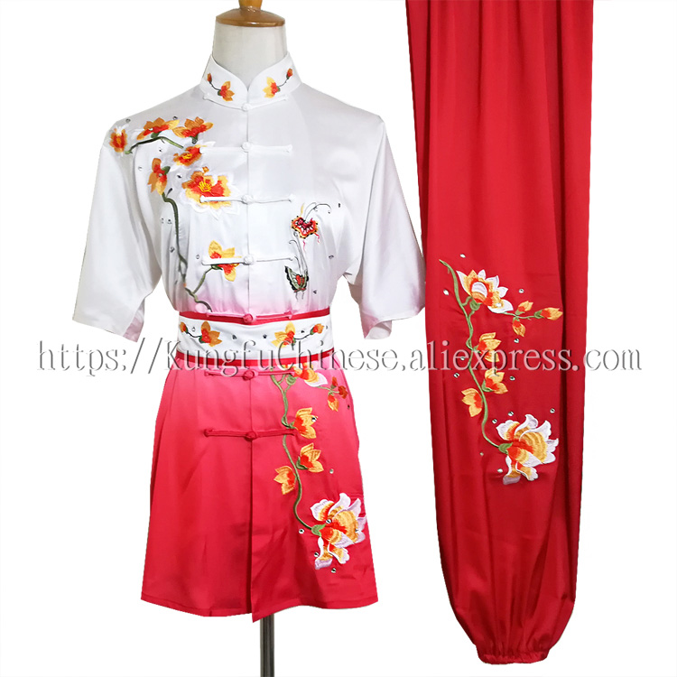 Chinese wushu uniform Kungfu clothes Martial arts demo suit taolu costume changquan outfit for men children