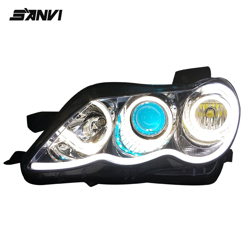 SANVI Headlights For Toyota Mark X with Q5 Projector Lens BMW-Style Engel Eyes Halos Headlamps Assembly For Toyota Reiz Autopart turbine