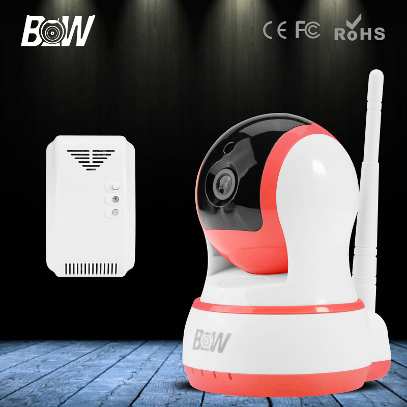 ФОТО BW PTZ HD 720P WiFi IP Camera + Gas Detector Wireless IP Cam Baby Monitor Onvif Surveillance Home Security Camera Wi-Fi
