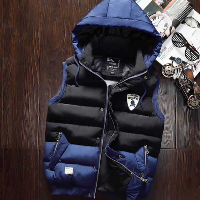 2016 Autumn and Winter Men's Slim Cotton Down Vest Hooded Waistcoat Casual Zipper Outerwear Vests