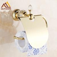 Modern Golden Brass Bathroom Toilet Paper Holder Dual Roll Paper Holder W/ Cover