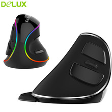 цена на Delux M618 Plus Wireless / Wired Mouse Ergonomic Mouse 2.4G Vertical Mouse RGB LED Light Wireless Optical Mice For PC Computer