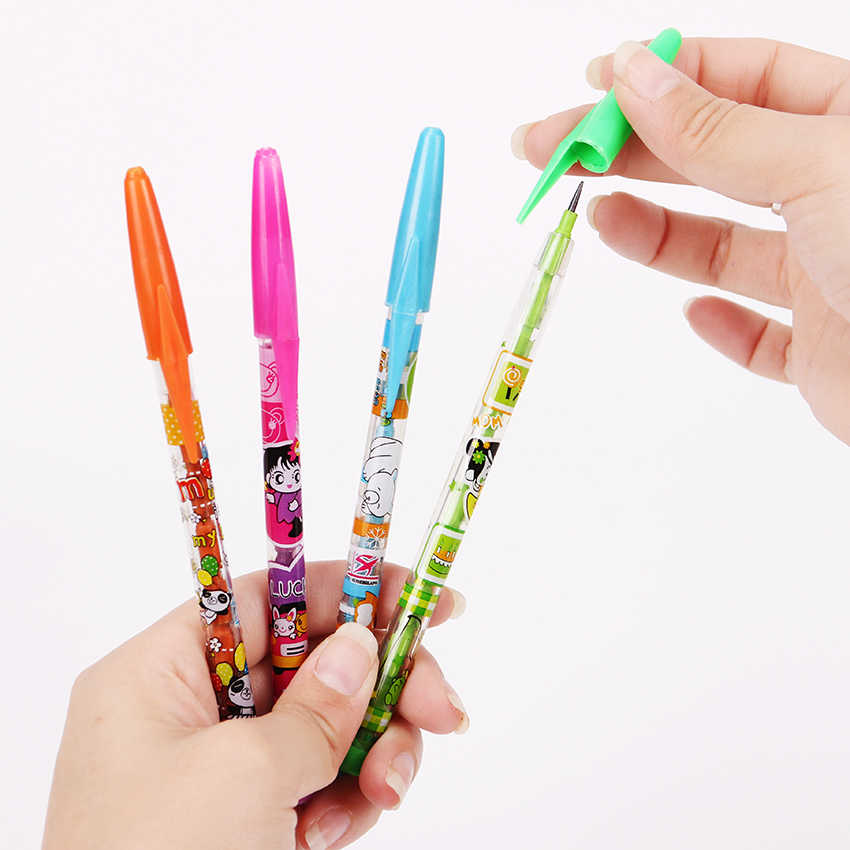 4PCS Korea Cute Girl Pencil Stationery Colorful Cartoon Pencil Plastic Pencil Student School Office Use