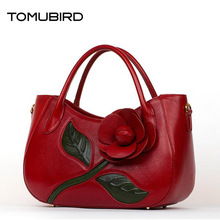 TOMUBIRD New superior cowhide leather Designer Inspired Tote Shoulder Bags Hand-dimensional flowers Handmade Leather Handbags
