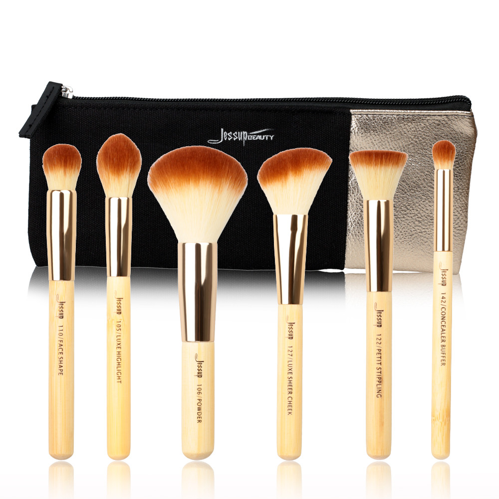 2017 New Jessup Brand 6pcs Beauty tools Bamboo Professional Makeup Brushes Set & Cosmetics Bags Women Bag Make up brush Powder new jessup brand beauty 5pcs coffe professional makeup brushes set make up tools kits cosmetics foundation blush powder brush