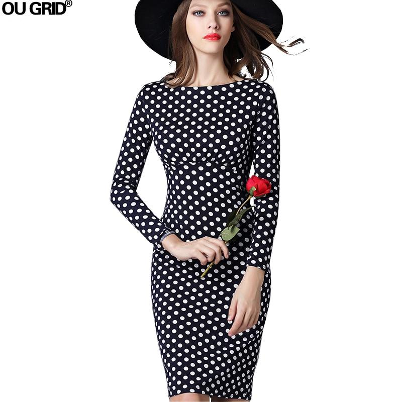 Femei Rochie de birou Noile sosiri Moda Polka Dots Slim Femei Rochie - Îmbrăcăminte femei