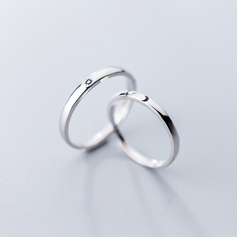Colusiwei Genuine 925 Sterling Silver Sun & Moon Rings 925 Silver Couple Rings Adjustable Finger Ring Romantic For Lover Jewelry