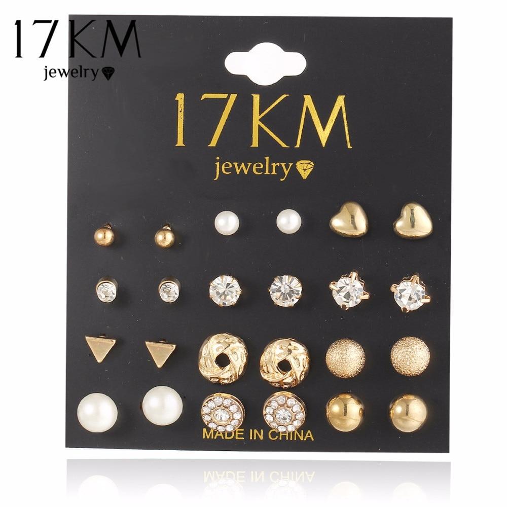17KM Moda 12 par / set Trendy Style Žene Trg Crystal Heart Stud Naušnice za žene Piercing Simulirani Biser cvijet naušnica