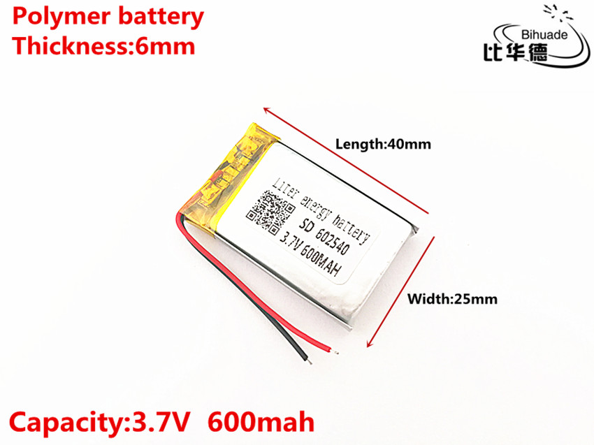 3.7V 600mAH <font><b>602540</b></font> Polymer lithium ion / Li-ion Rechargeable <font><b>battery</b></font> for DVR,GPS,mp3,mp4 image