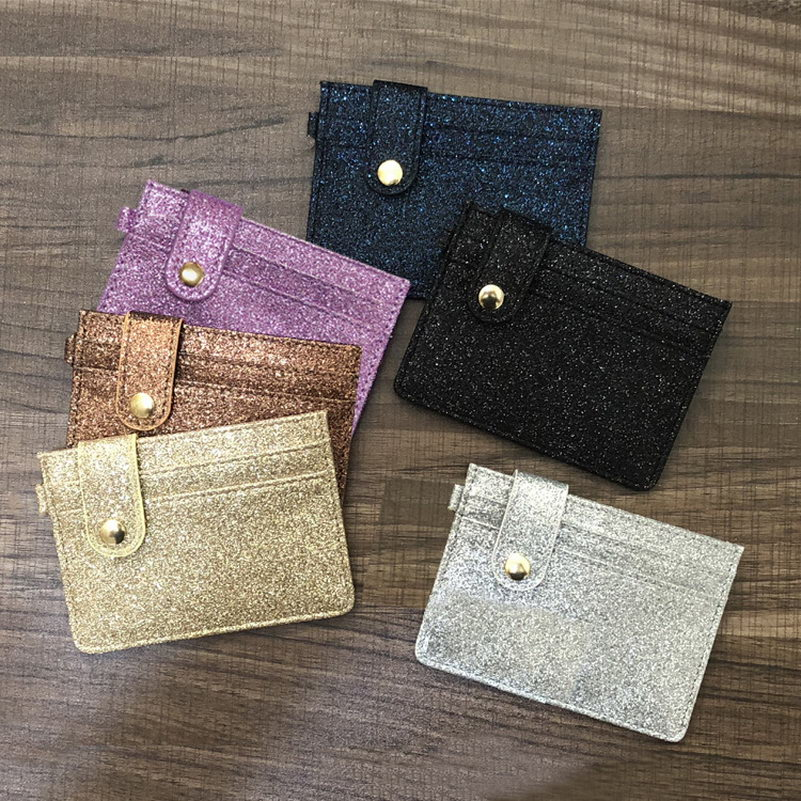 KANDRA New Women Fashion Glitter Leather Hasp ID Credit Card Holder Coin Purse Business Card Bags Multi Slot Slim Card Case