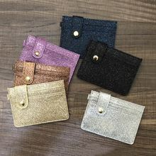 KANDRA New Women Fashion Glitter Leather Hasp ID Credit Card Holder Coin Purse Business Bags Multi Slot Slim Case