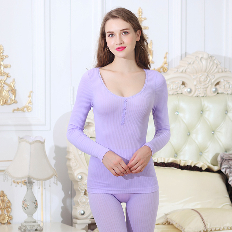 Winter Warm Suit For Women Long Johns Fashion Lace Trim Button Sexy Ladies Thermal Underwear Slimming Body Shaped Underwear Sets