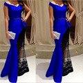 Nuevo Vestido de Noche Árabe Largo 2015 V-cuello de La Manga Casquillo Azul Real de La Sirena Piso-Longitud Apliques Mujeres Vestidos Formales