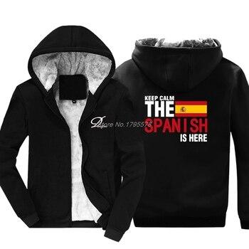 평온한 두려움을 유지하십시오 스페인어는 여기에 있습니다 스웨트 남성 참신 재킷 남성 면화 Thicken Hoodie 스페인 깃발 탑스 하라주쿠 Streetwear