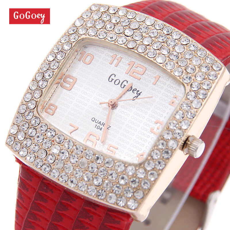 Hot Sales Luxury Gogoey Brand Leather Watch Women Ladies Rhinestone Dress Quartz Wristwatches go070