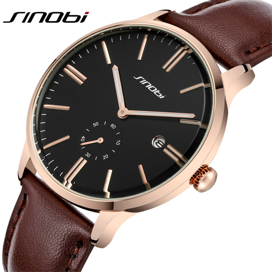 Top Brand SINOBI New Quartz Watch Men Casual Business JAPAN Relojes Hombre Ultra Slim Watches Leather Analog Men's Relogio Gift